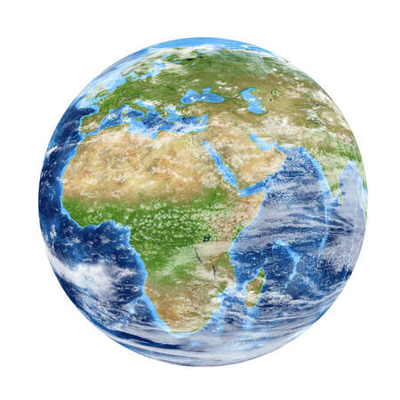 Planet Earth from space showing Africa & Europe. World isolated on white background. Elements of this image furnished by NASA