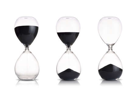hourglass set on white background 스톡 콘텐츠