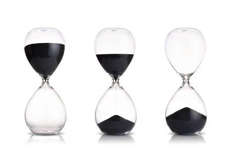 reloj de arena: Conjunto de reloj de arena en el fondo blanco