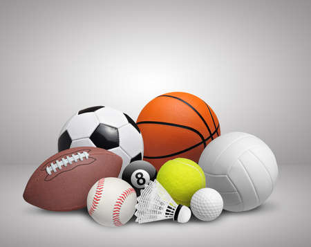 Set of sport balls on gray background 스톡 콘텐츠