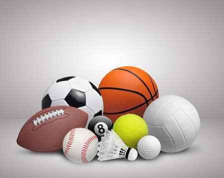 Set of sport balls on gray background Archivio Fotografico