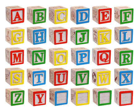 wooden blocks: Wooden alphabet blocks isolated on white background