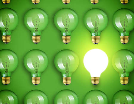 Concept for big idea. Light bulbs on green