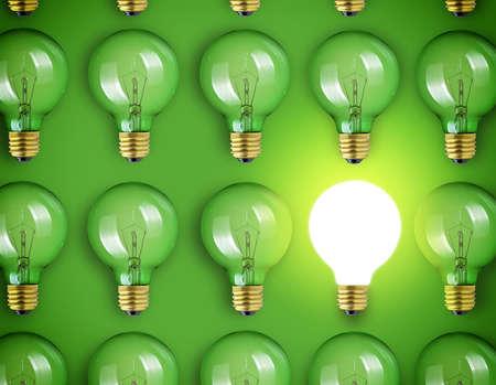 Concept for big idea. Light bulbs on green