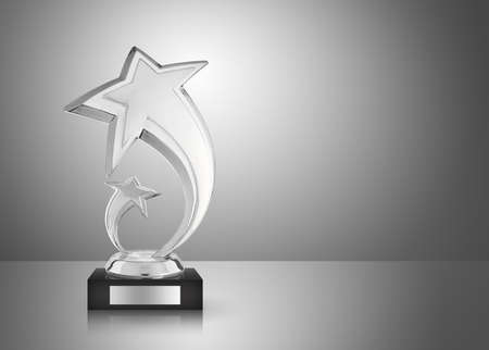 Silver star trophy on gray background