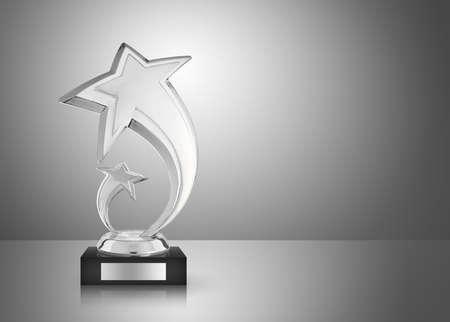 trofeo: Trofeo de plata estrella sobre fondo gris