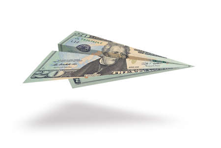 denominations: Twenty dollar plane isolated on white background