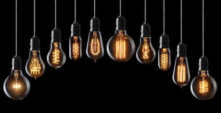 focos de luz: Conjunto de bombillas incandescentes de la vendimia en negro Foto de archivo