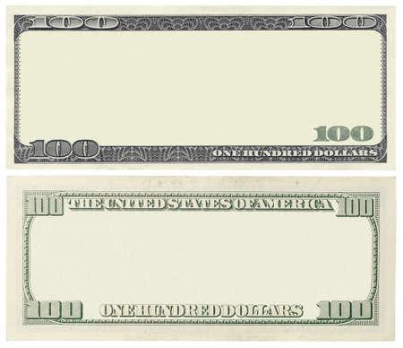Blank billet de 100 dollars isolé sur blanc