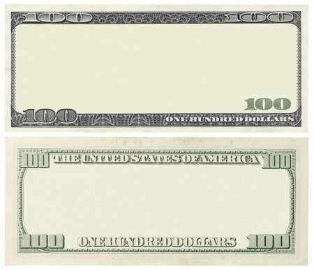 factura: En blanco billete de 100 dólares aislados en blanco