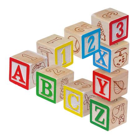 alphabet blocks: ABC alphabet blocks optical illusion, isolated on white Stock Photo