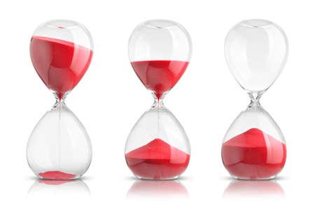 vidrio: Colección de relojes de arena en el fondo blanco Foto de archivo