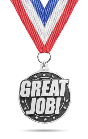 silver medal: Silver medal Great Job isolated on white Stock Photo