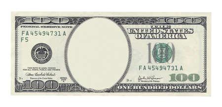 Blank billet de cent dollars isolé sur blanc Banque d'images