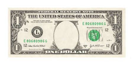 Blank 1 dollar banknote isolated Foto de archivo