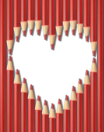forme: Red pencils heart shape isolated