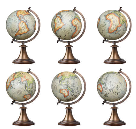 africa antique: Collection of old style world globes isolated on white background. Showing all continents Stock Photo