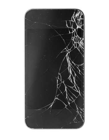 mobile phone screen: Smartphone with broken screen isolated on white