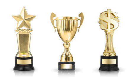 Cup trophy, star award and dollar sign trophy isolated on white background Stock Photo