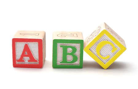 letter c: Wooden alphabet blocks isolated on white background