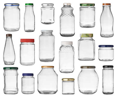 fragile: Set of empty jars with caps isolated on white background