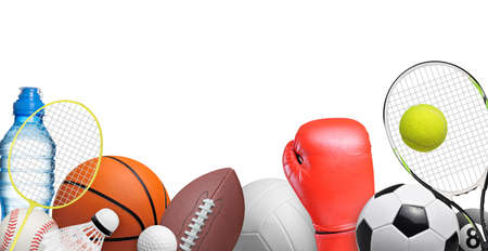 Set of sport items isolated on white background Stok Fotoğraf