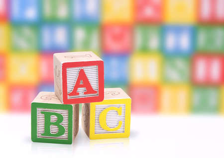 abc: ABC blocks on a colorful blurred background