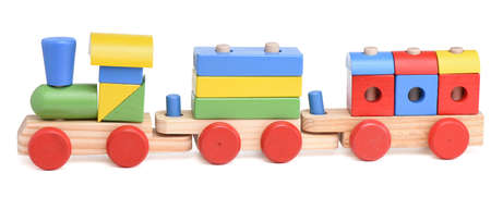 preschool children: wooden toy train isolated on white background