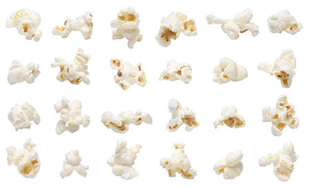 multiple objects: Popcorn collection isolated on white.