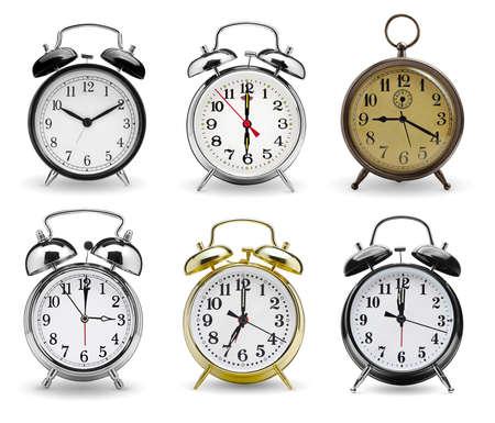 Alarm clocks set isolated on white background