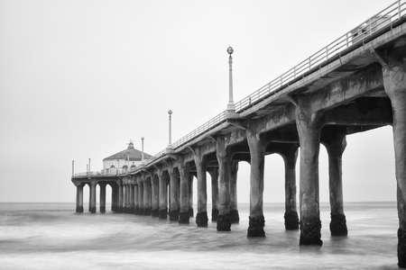 hermosa beach: Black and white photo of Manhattan beach pier, California. Stock Photo