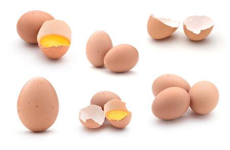 卵は、白い背景で隔離のコラージュ 写真素材
