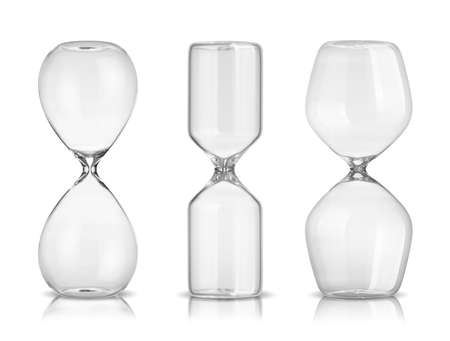trickle: Empty hourglasses isolated on white background