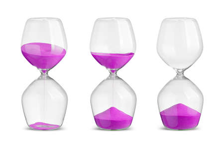 trickling: Set of hourglasses on white background Stock Photo