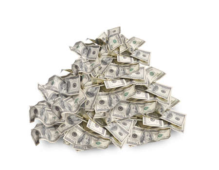 pay cuts: Pile with american hundred dollar bills isolated