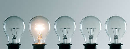 Row of light bulbs. Idea concept