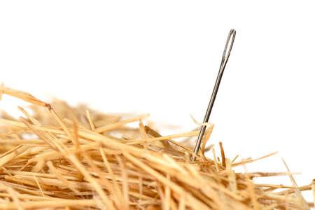 Closeup of a needle in haystack Foto de archivo