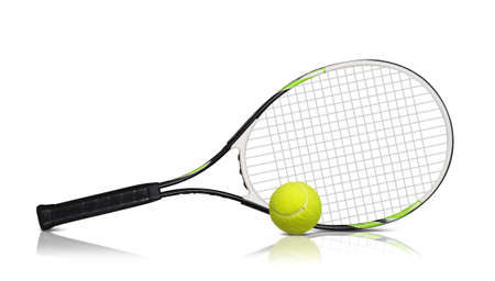 sport object: Tennis rackets and ball on white background Stock Photo