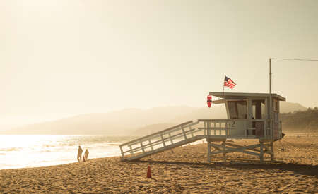 monica: Santa Monica beach lifeguard tower in California USA