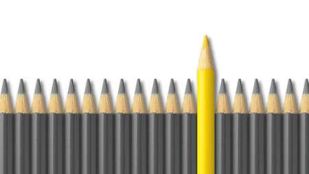 lapiz: Lápiz de color amarillo de pie a partir de multitud de lápices de color gris