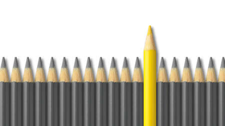 standing out from the crowd: Yellow pencil standing out from crowd of gray pencils Stock Photo