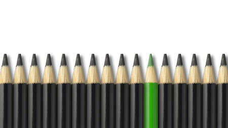 difference: Green pencil standing out from crowd of black pencils