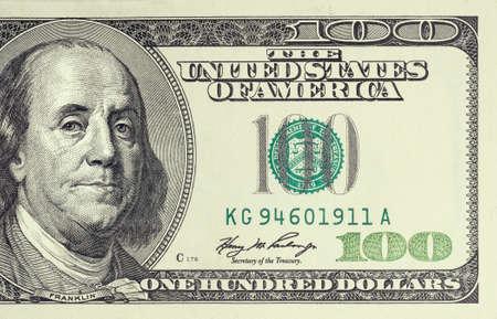 factura: Foto de cerca de billete de 100 dólares