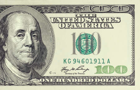 Closeup photo of 100 dollar bill