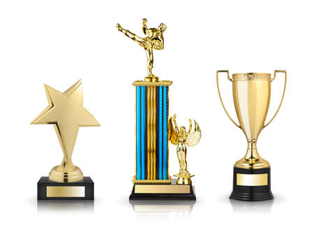 Gold trophies set isolated on white background Stock Photo