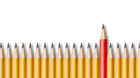 notable: Red pencil standing out from crowd of yellow pencils