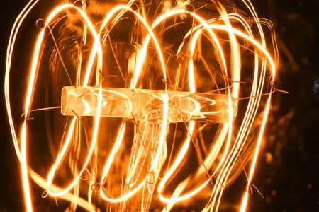 Close up glowing vintage light bulb Stockfoto