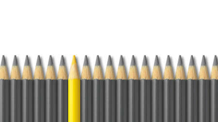 Yellow pencil standing out from crowd of gray pencils Stock Photo