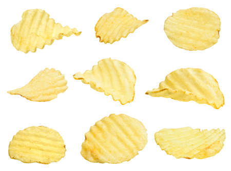 potato chips set isolated on a white background 免版税图像