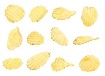 potato chips collection isolated on a white background